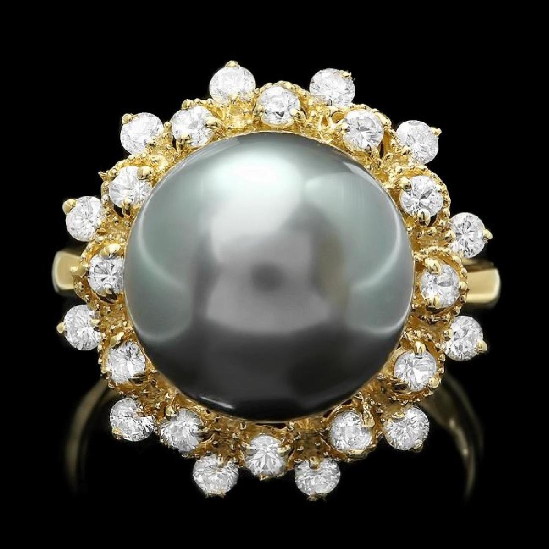14k Gold 12 X 12mm Pearl 0.80ct Diamond Ring