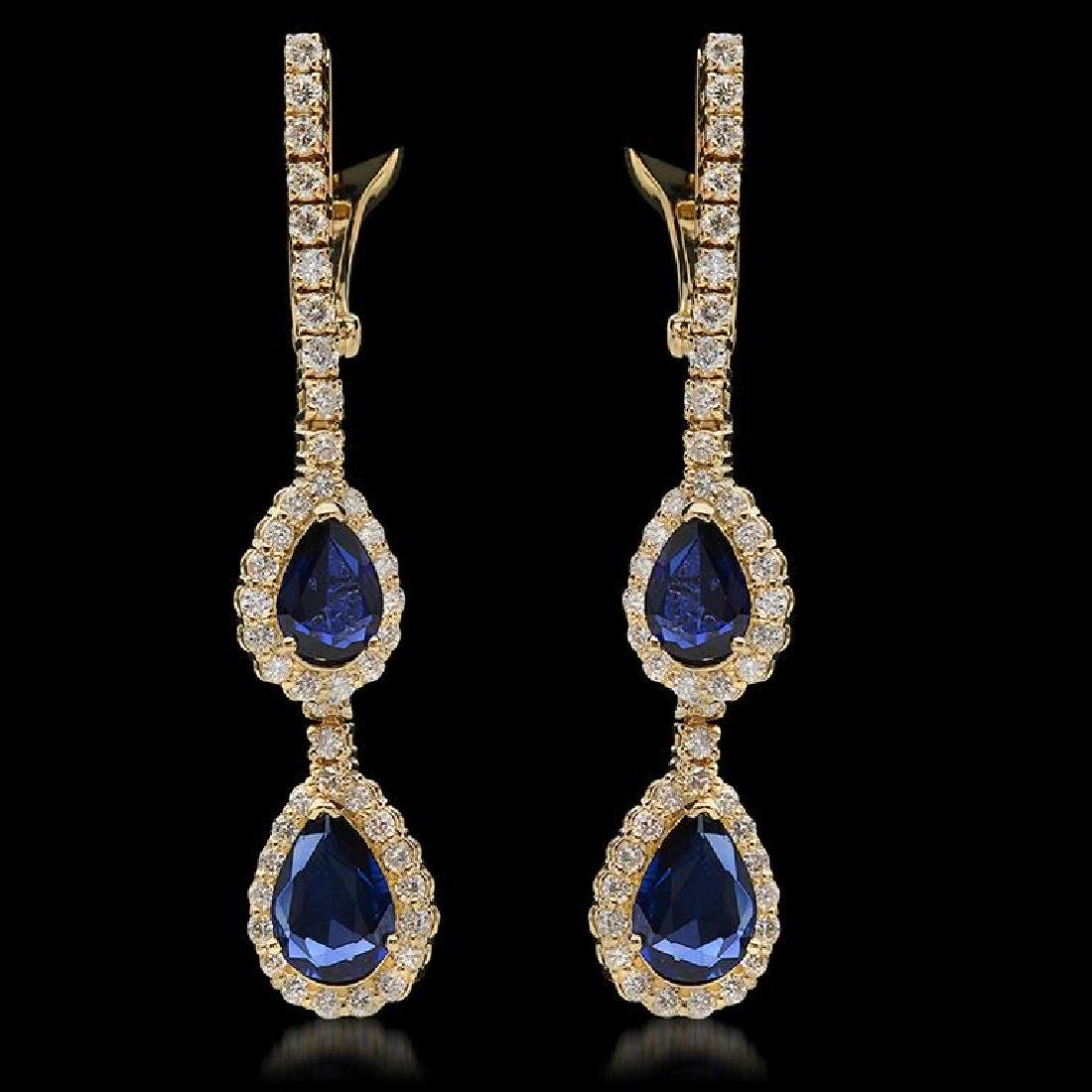 14K Gold 2.60ct Sapphire & 1.75ct Diamond Earrings