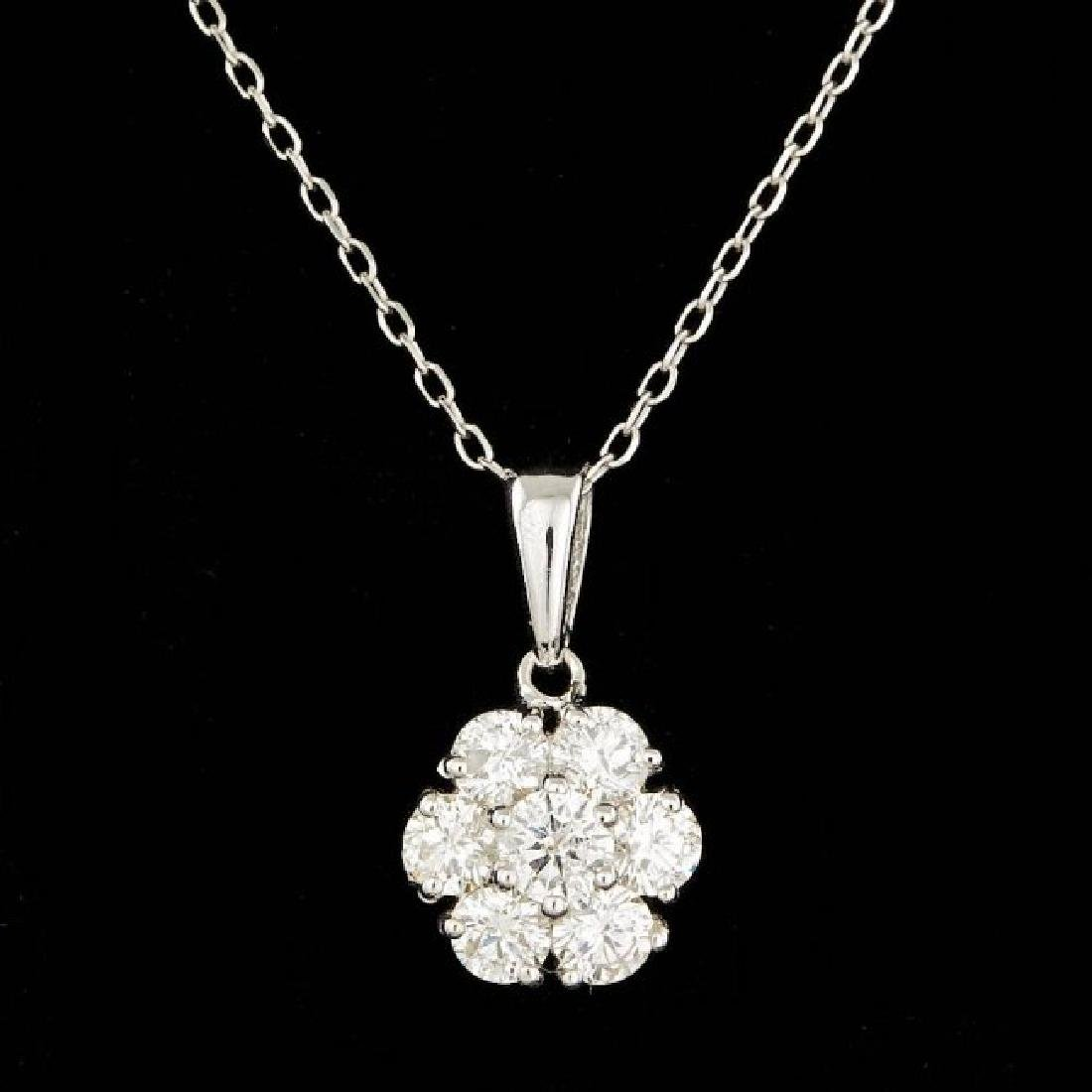 14k White Gold 0.90ct Diamond Pendant