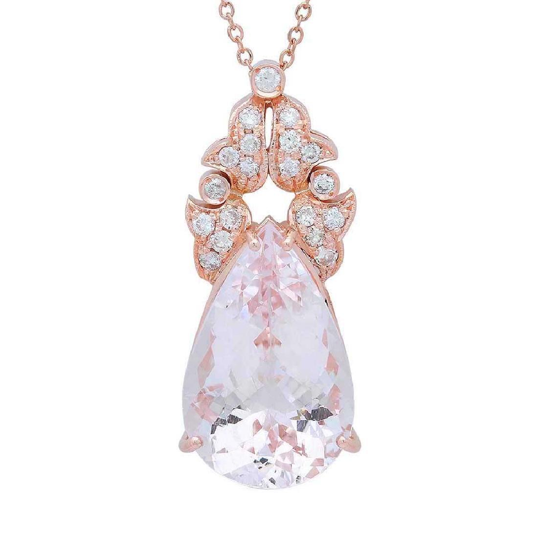14K Gold 21.98ct Morganite 0.81ct Diamond Pendant