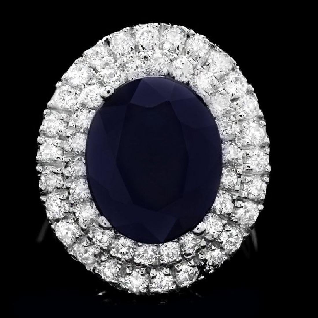 14k Gold 6.00ct Sapphire 1.50ct Diamond Ring
