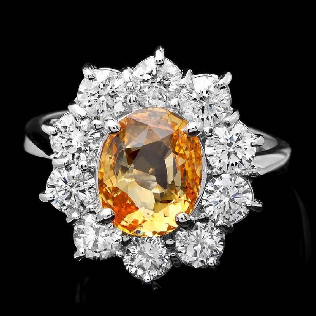 14k Gold 2.85ct Sapphire 1.70ct Diamond Ring