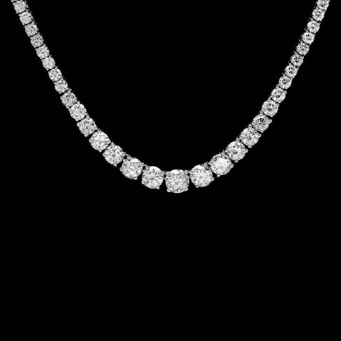 18k White Gold 13.00ct Diamond Necklace