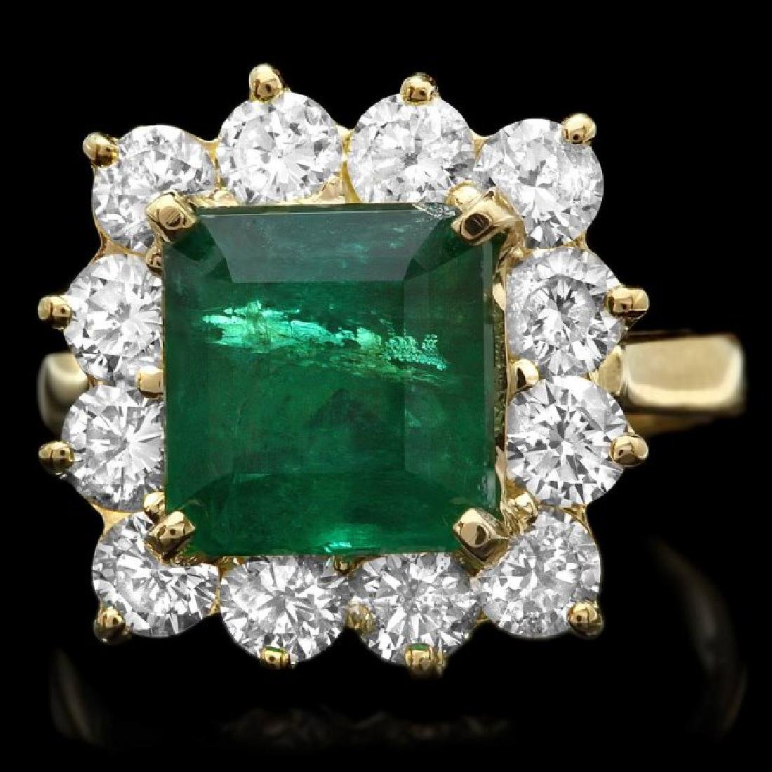 18k Gold 4.00ct Emerald 1.90ct Diamond Ring