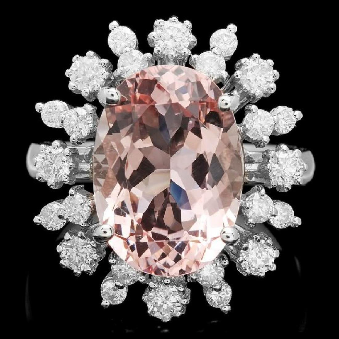 14k Gold 5.50ct Morganite 1.00ct Diamond Ring