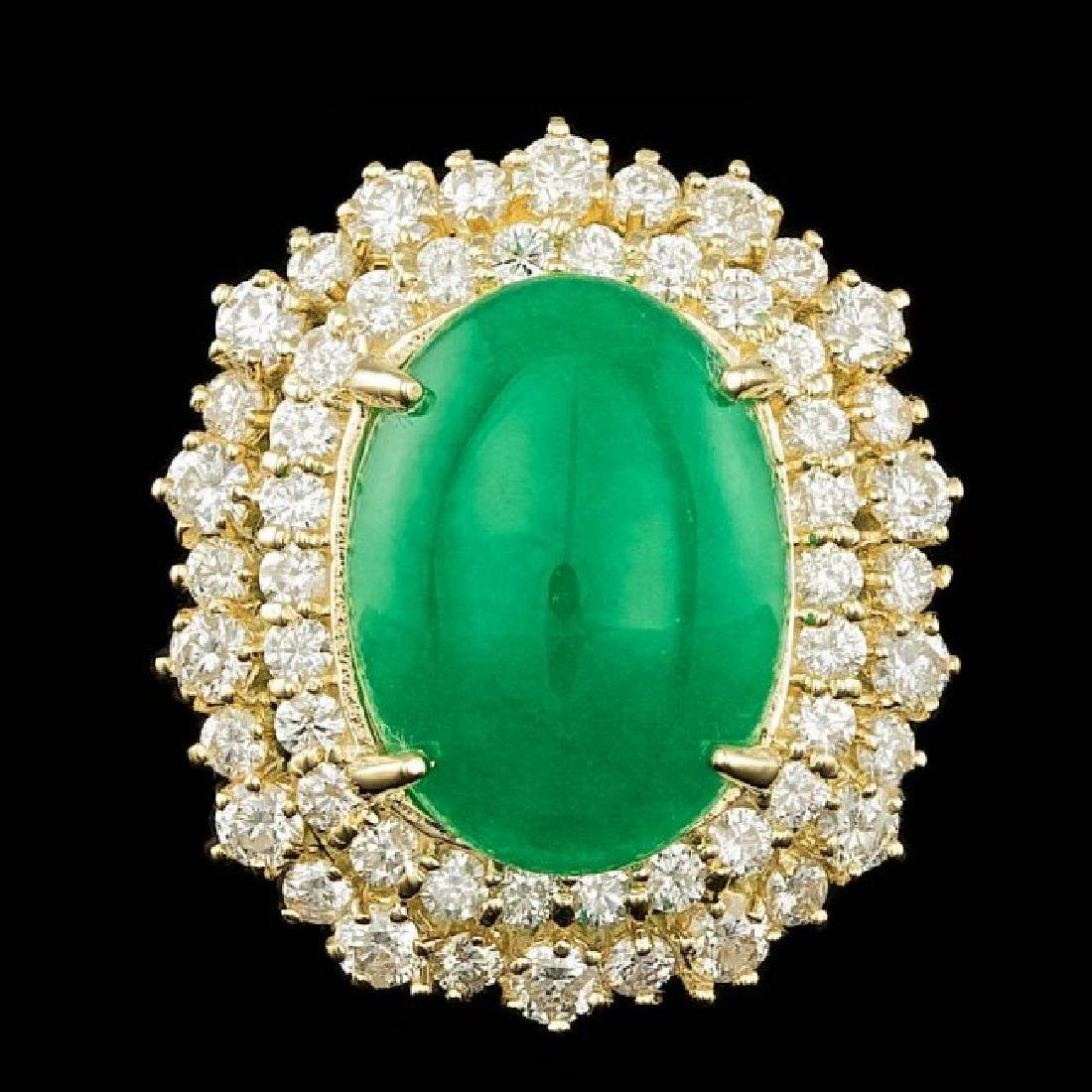 14k Yellow Gold 6.50ct Jade 2.00ct Diamond Ring