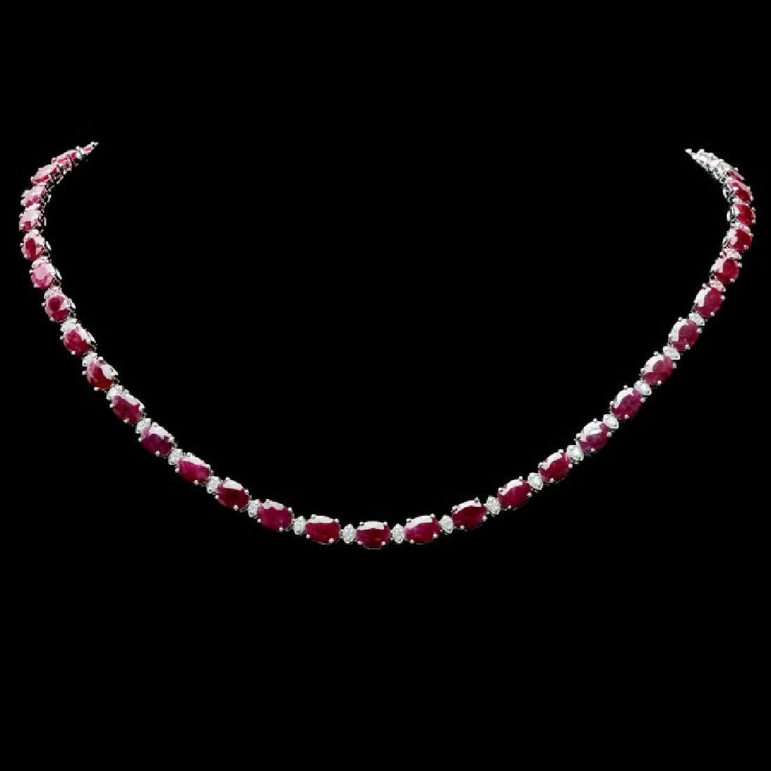 14k Gold 37.00ct Ruby 1.70ct Diamond Necklace