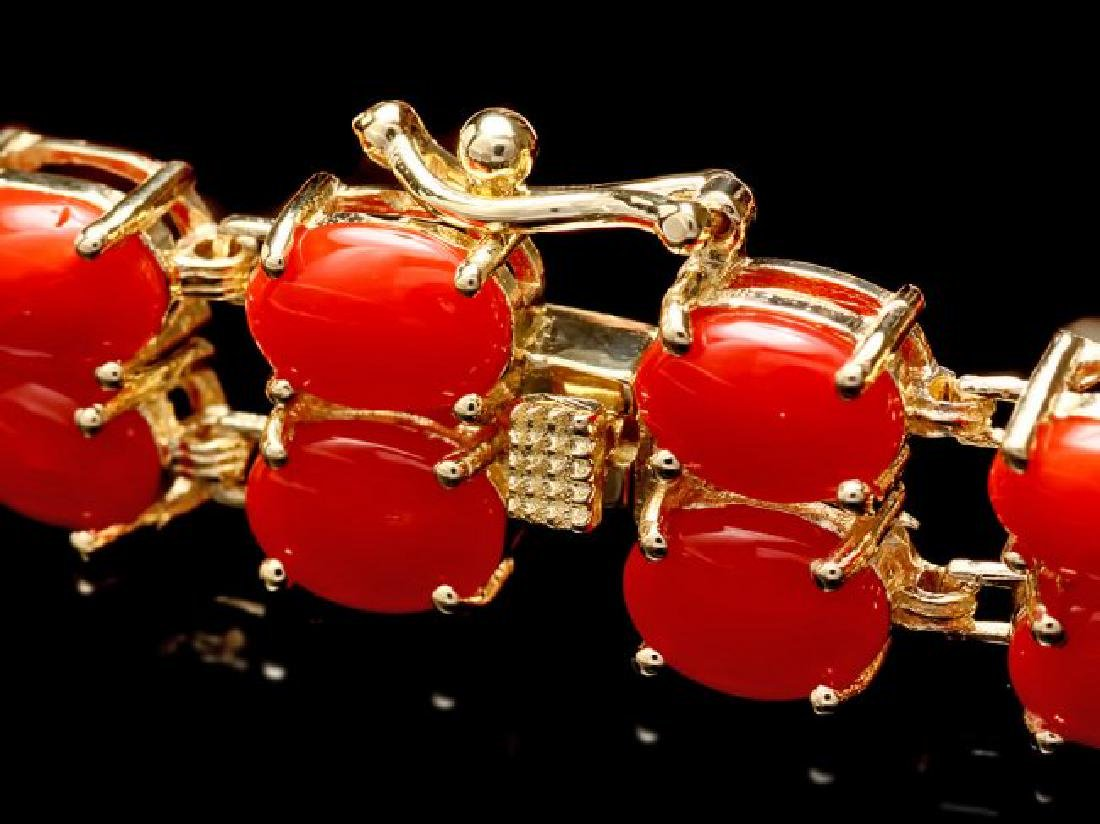 14k Gold 23.5ct Coral 1.50ct Diamond Bracelet - 3
