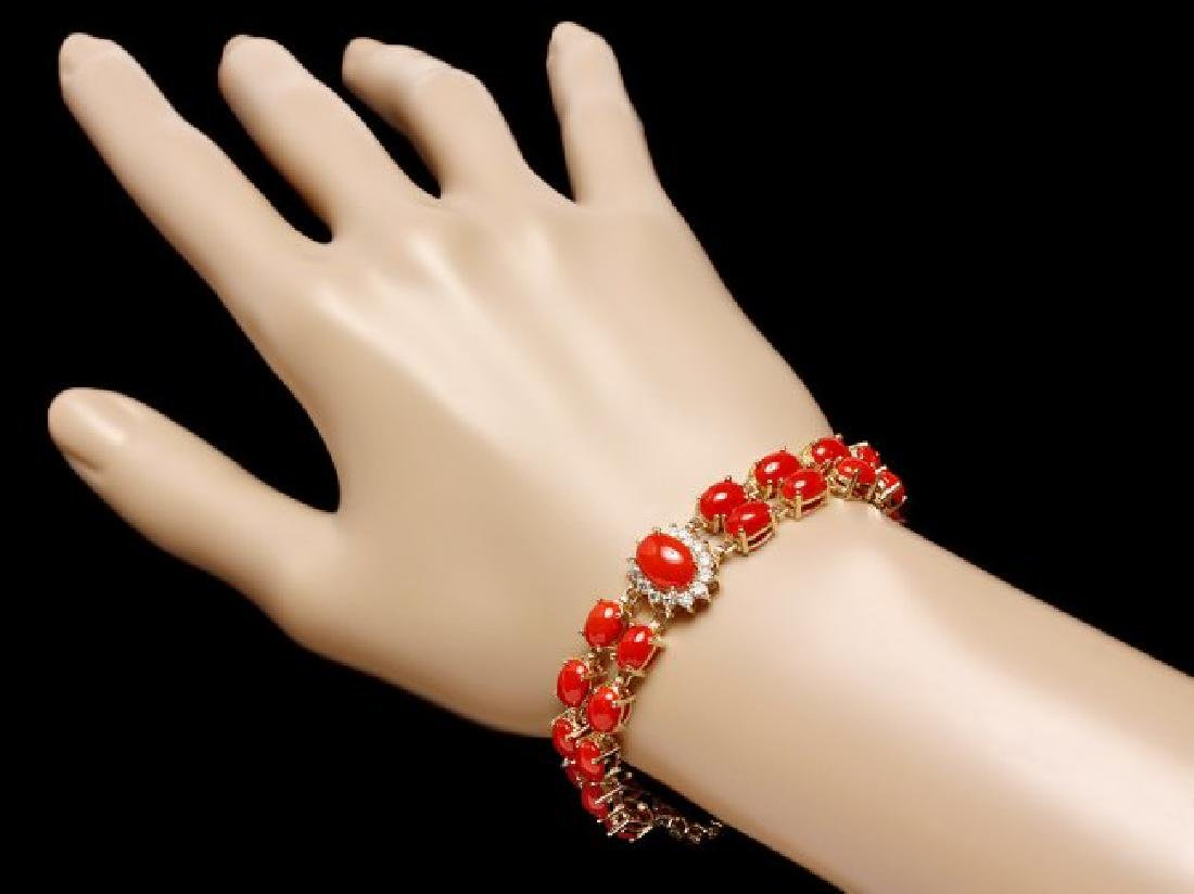 14k Gold 23.5ct Coral 1.50ct Diamond Bracelet - 4