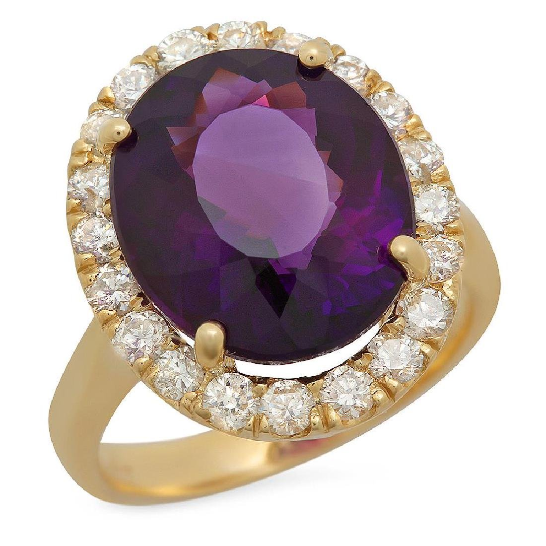 14K Gold 7.20ct Amethyst 1.10ct Diamond Ring