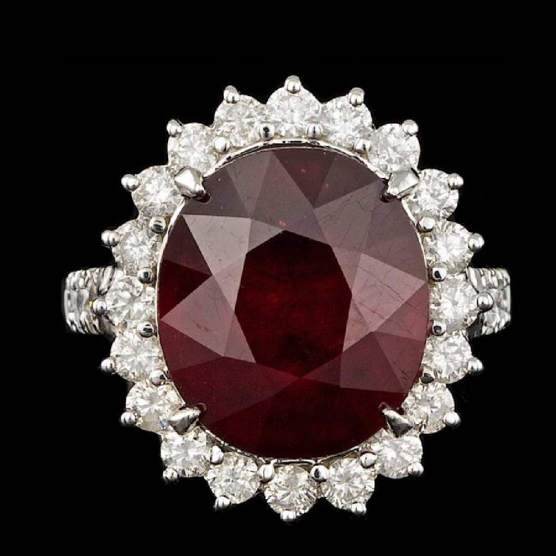 14k White Gold 12.50ct Ruby 1.50ct Diamond Ring