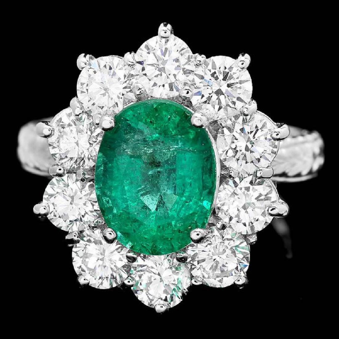 18k White Gold 2.40ct Emerald 2.15ct Diamond Ring