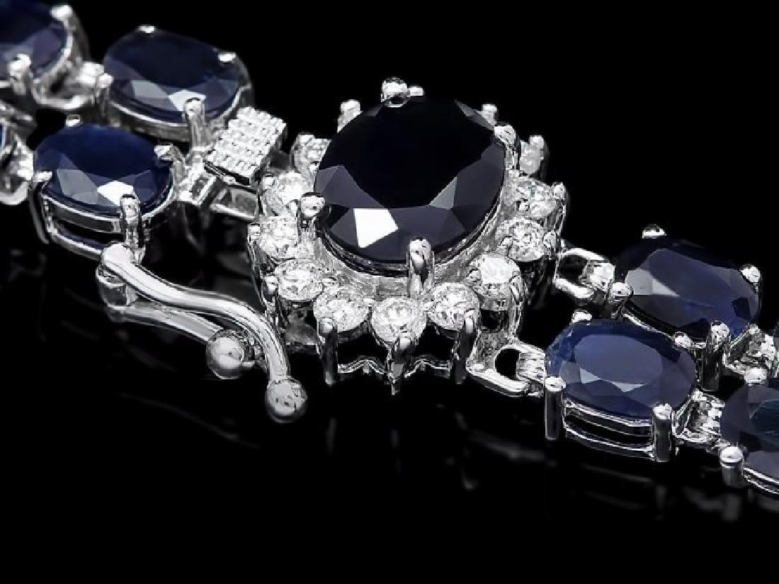 14k Gold 30ct Sapphire 0.60ct Diamond Bracelet
