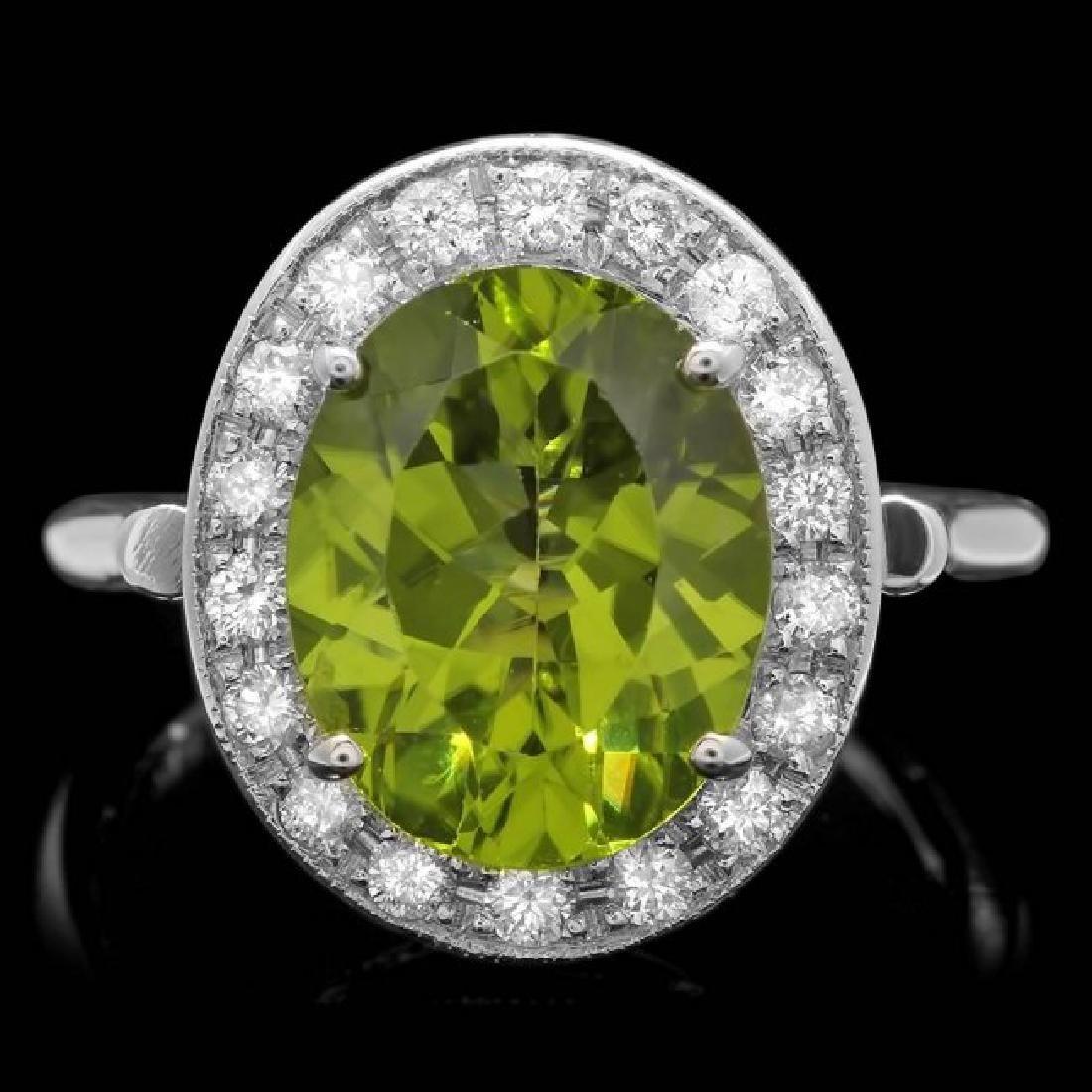 14k White Gold 5.00ct Peridot 0.70ct Diamond Ring