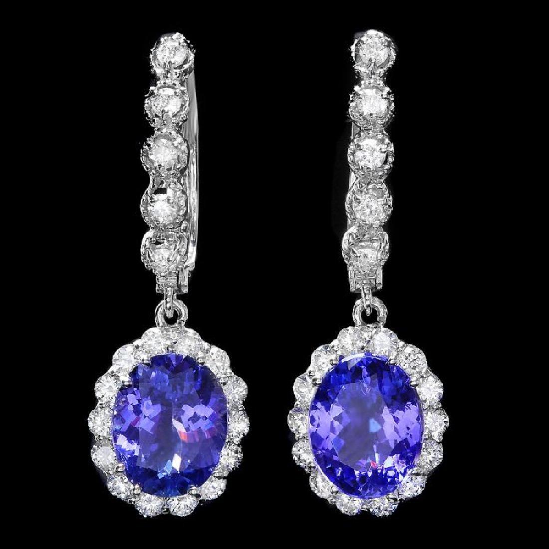 14k Gold 5ct Tanzanite 1.35ct Diamond Earrings