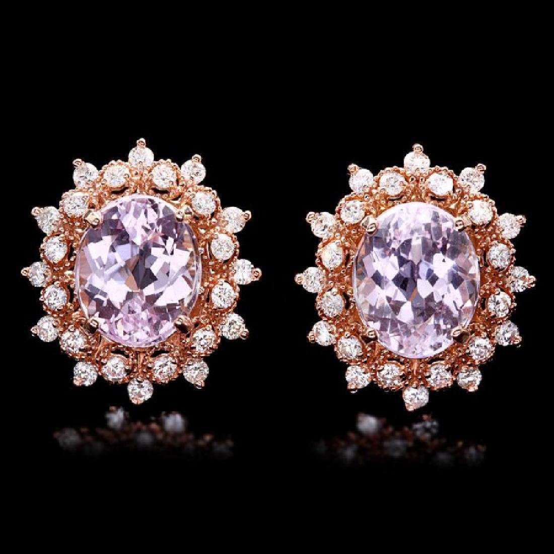 14k Rose 9.00ct Kunzite 1.30ct Diamond Earrings