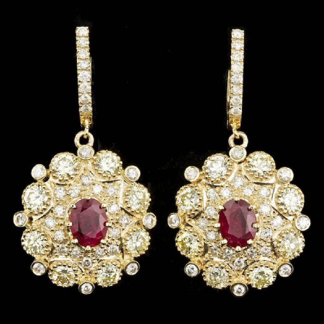14k Yellow Gold 2.50ct Ruby 7ct Diamond Earrings