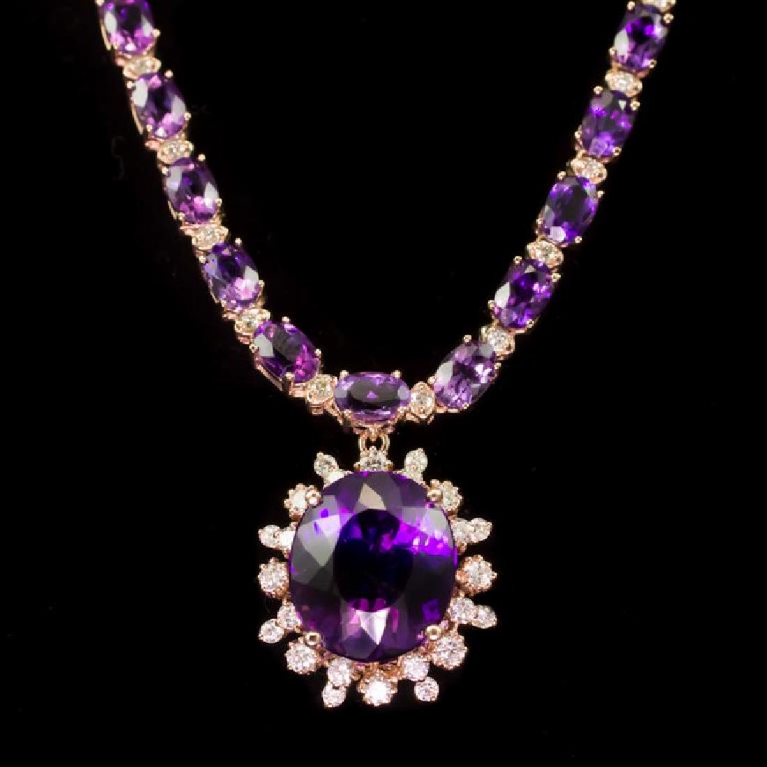 14K Gold 31.07ct Amethyst 2.45ct Diamond Necklace