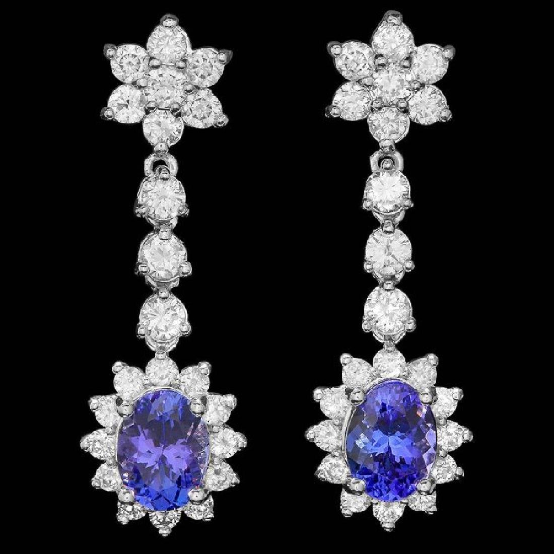 14k Gold 3.00ct Tanzanite 2.20ct Diamond Earrings