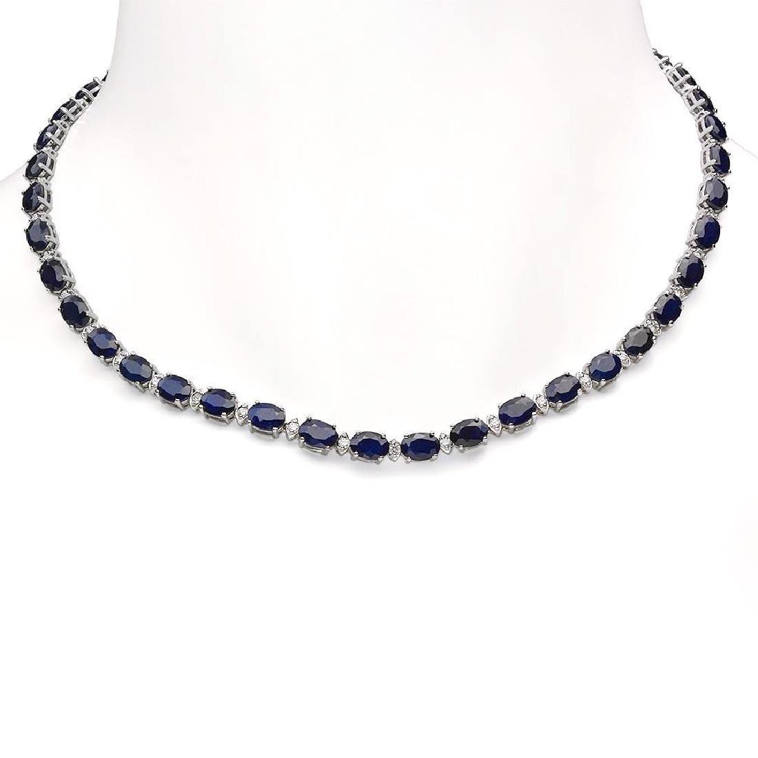 14K Gold 43.10ct Sapphire 1.51ct Diamond Necklace