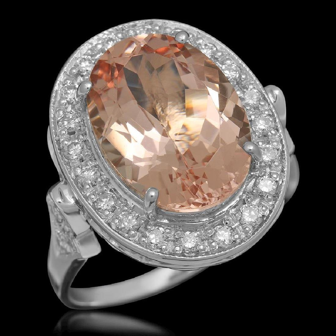 14K Gold 5.97ct Morganite 0.52ct Diamond Ring