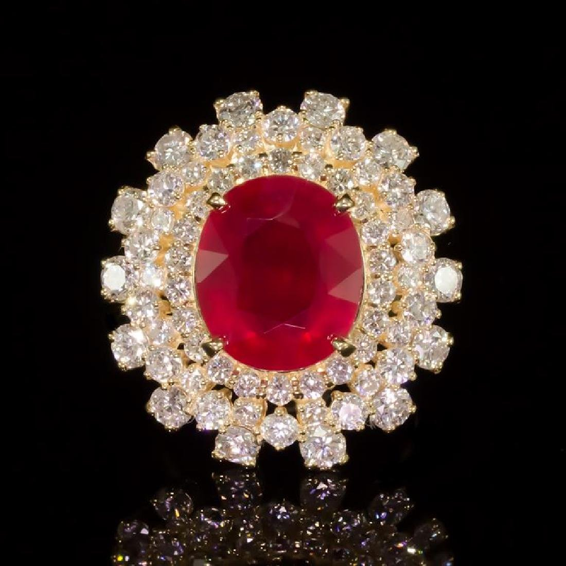 14K Gold 9.39ct Ruby 3.93ct Diamond Ring