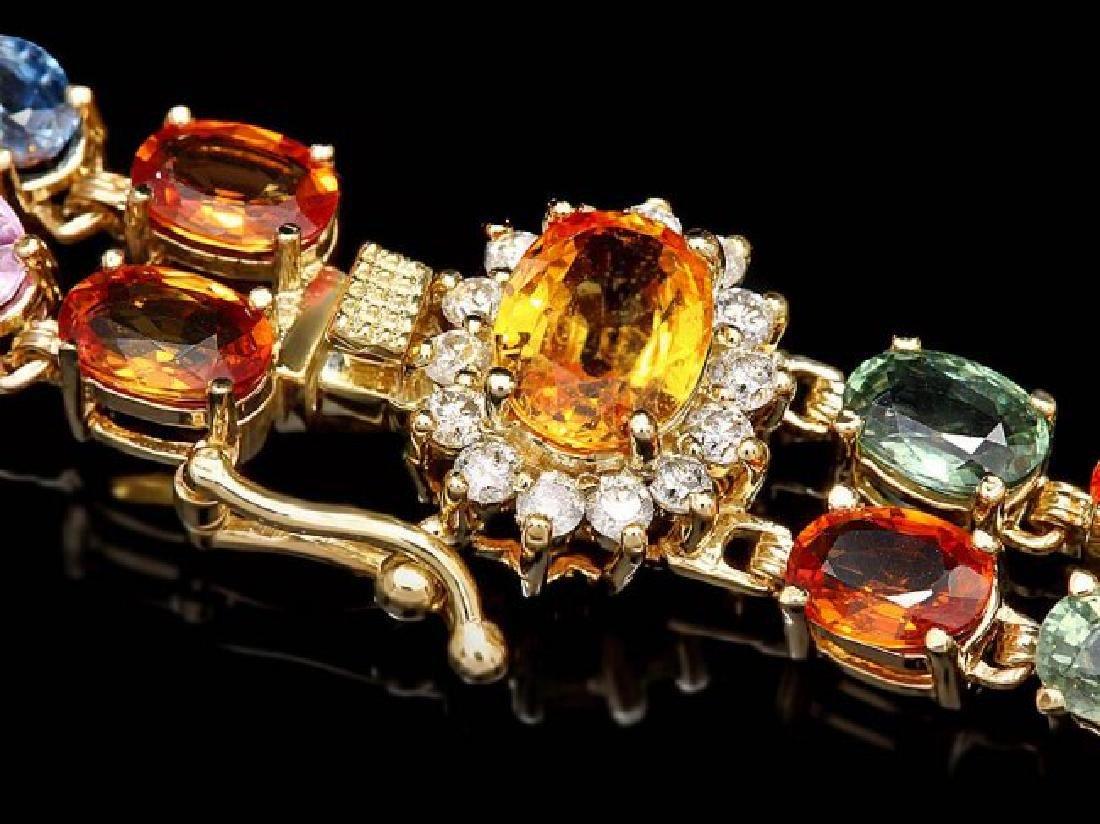 14k Gold 27ct Sapphire .30ct Diamond Bracelet
