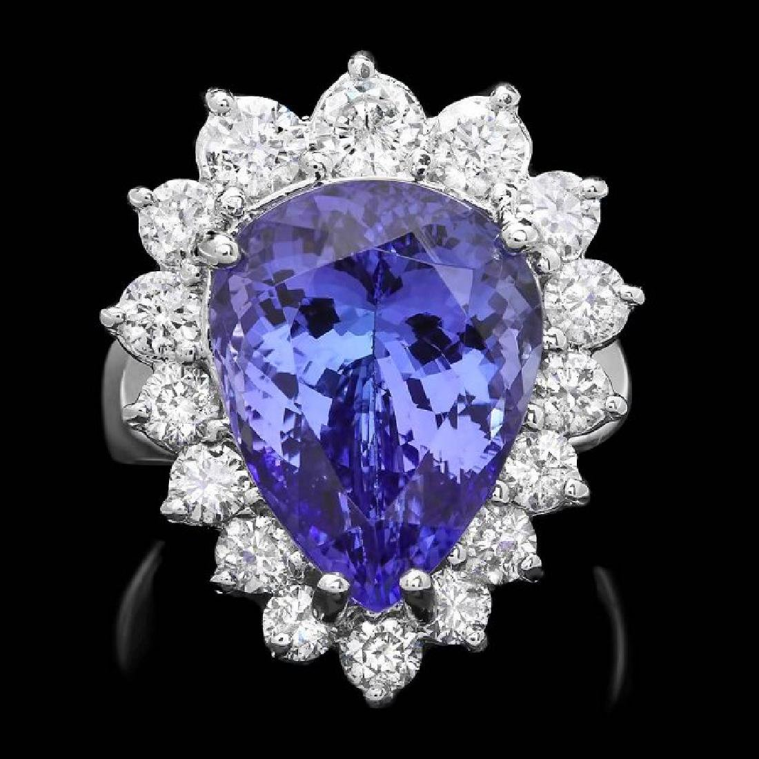 14k Gold 9.00ct Tanzanite 1.60ct Diamond Ring
