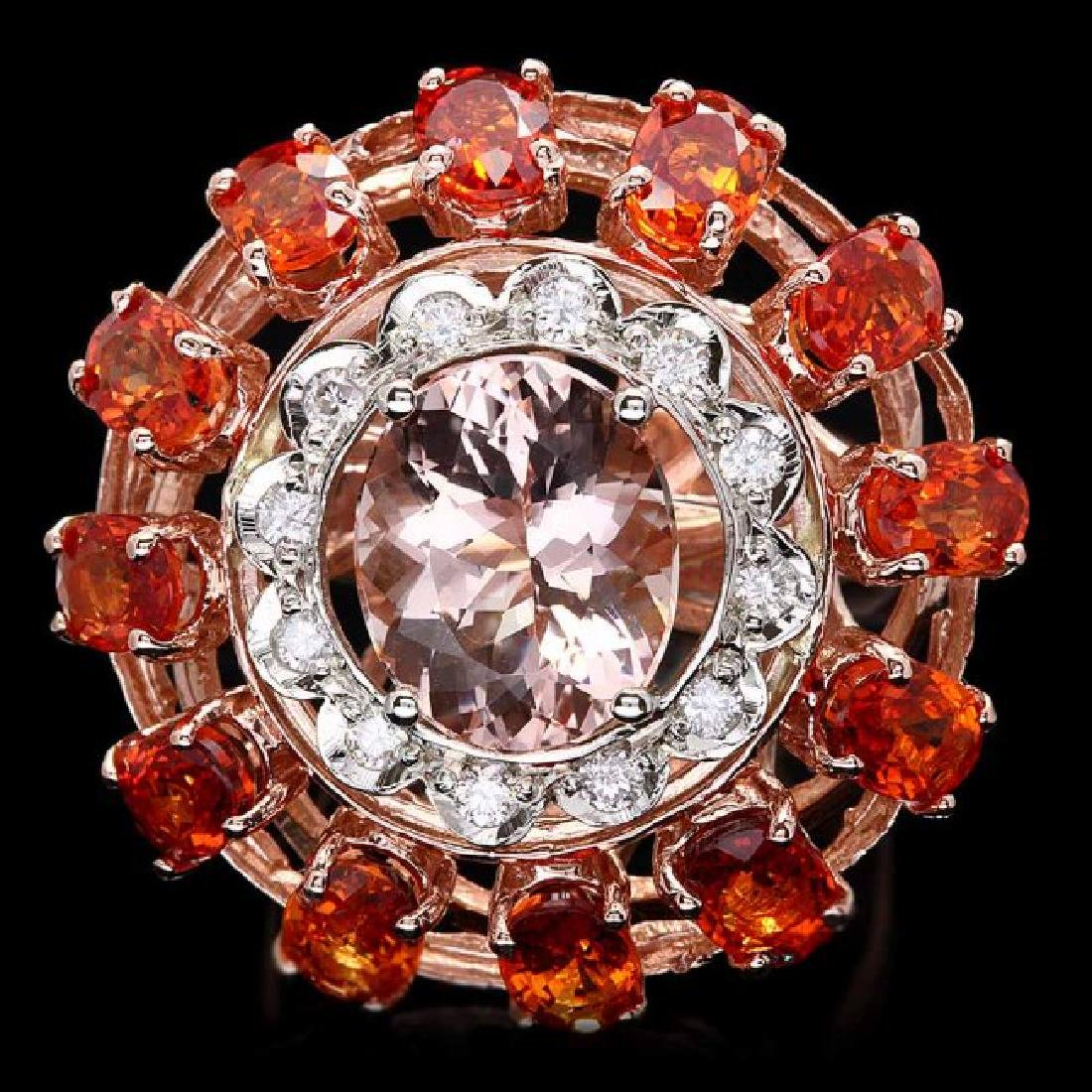 14k 11ctw Morganite Sapphire .40ct Diamond Ring