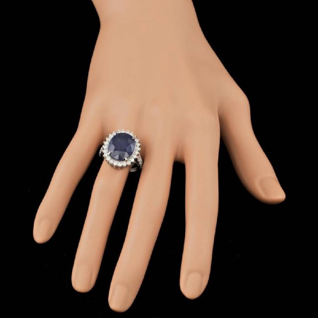 14k Gold 9.00ct Sapphire 1.10ct Diamond Ring - 3