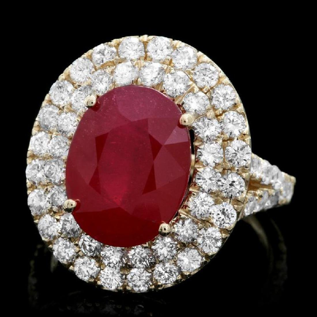 14k Yellow Gold 7.50ct Ruby 2.40ct Diamond Ring