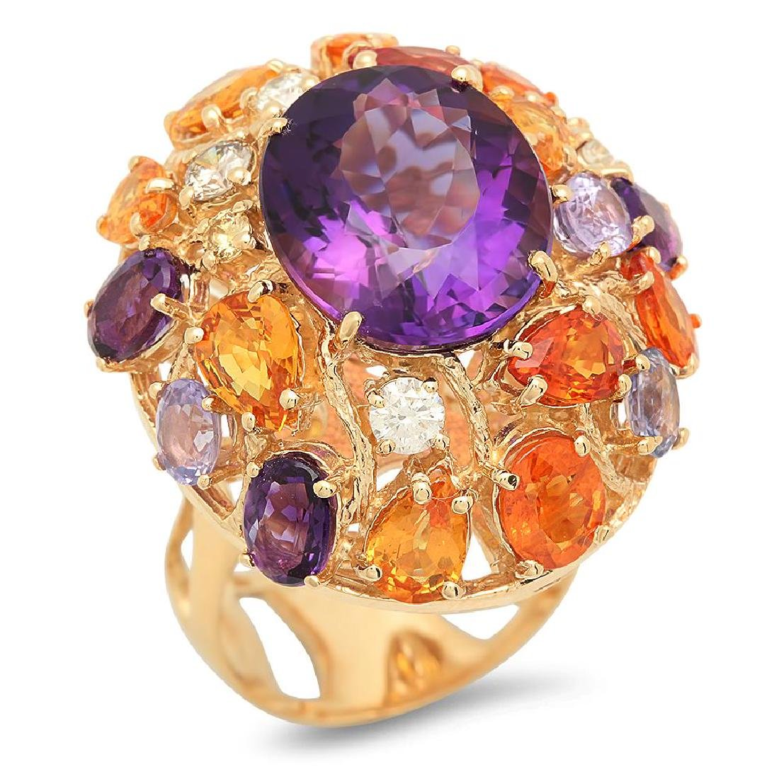 14K Gold 8.82ct Amethyst 7.39ct Sapphire 0.51cts