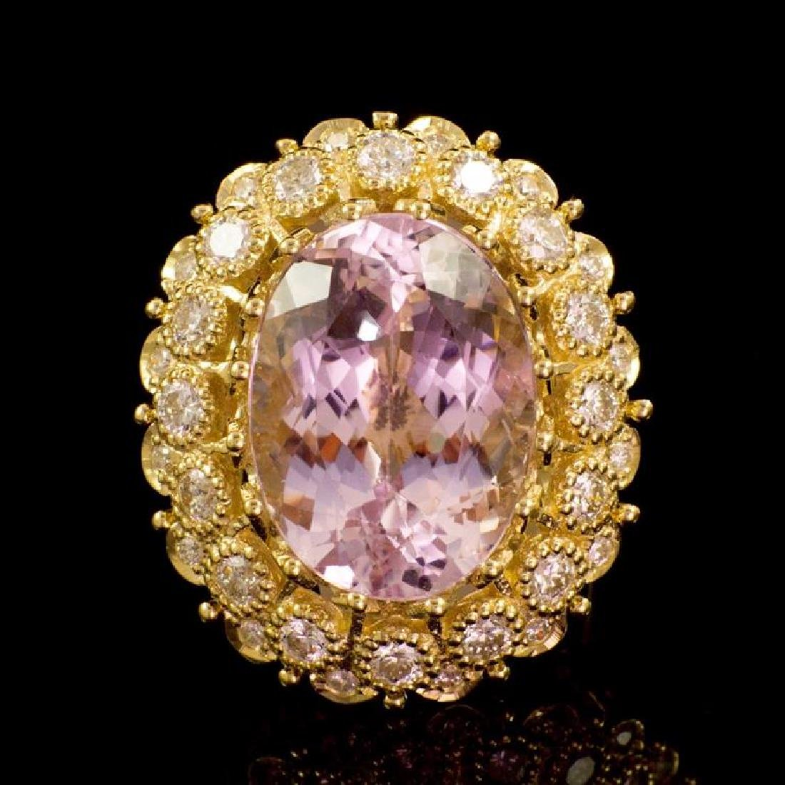 14K Gold 22.06ct Kunzite 2.47ct Diamond Ring