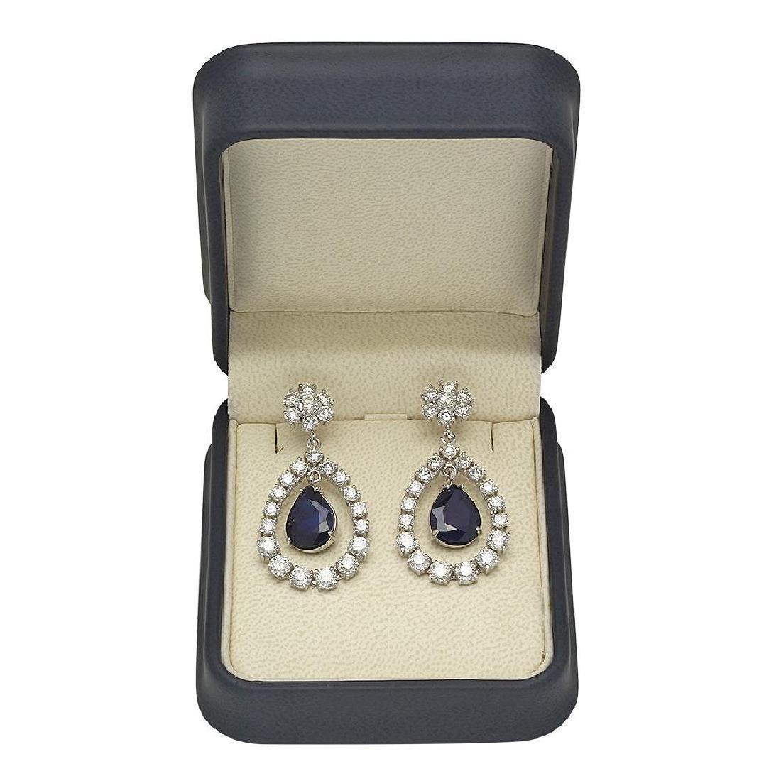 14K Gold  10.37ct Sapphire 7.08ct Diamond Earrings - 2