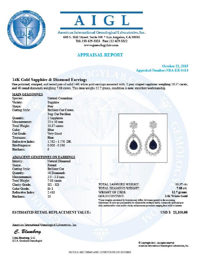 14K Gold  10.37ct Sapphire 7.08ct Diamond Earrings - 3