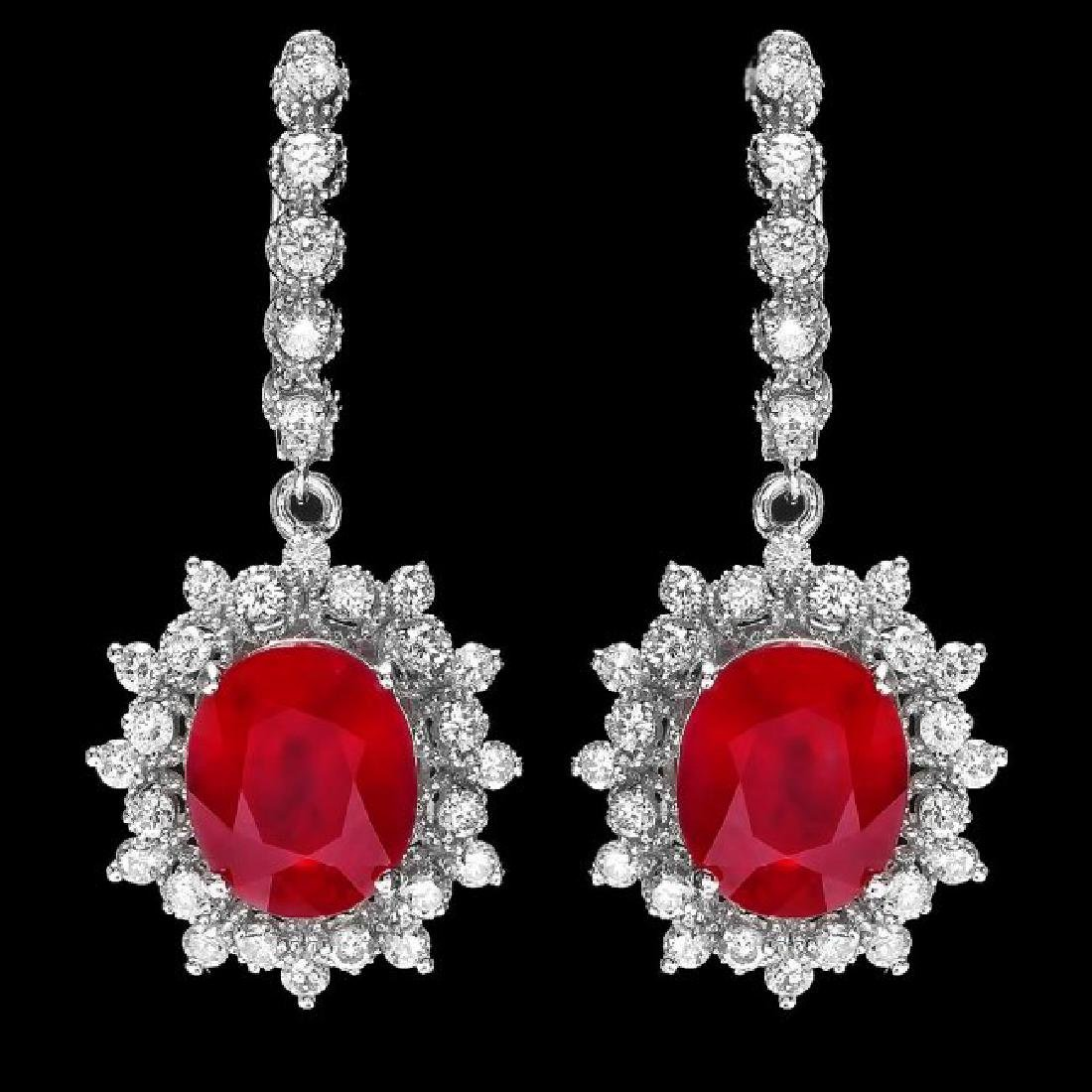14k Gold 11.30ct Ruby 1.80ct Diamond Earrings