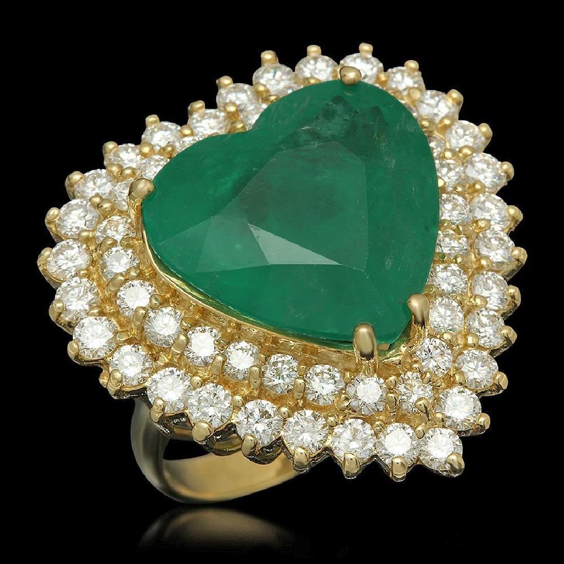 14K Gold 11.09ct Emerald 2.83ct Diamond Ring