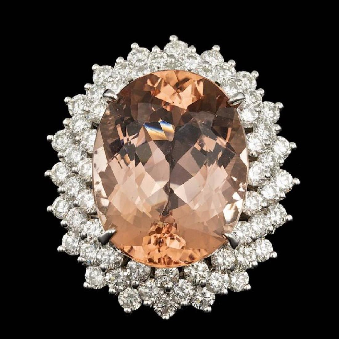 14k Gold 21.00ct Morganite 4.00ct Diamond Ring