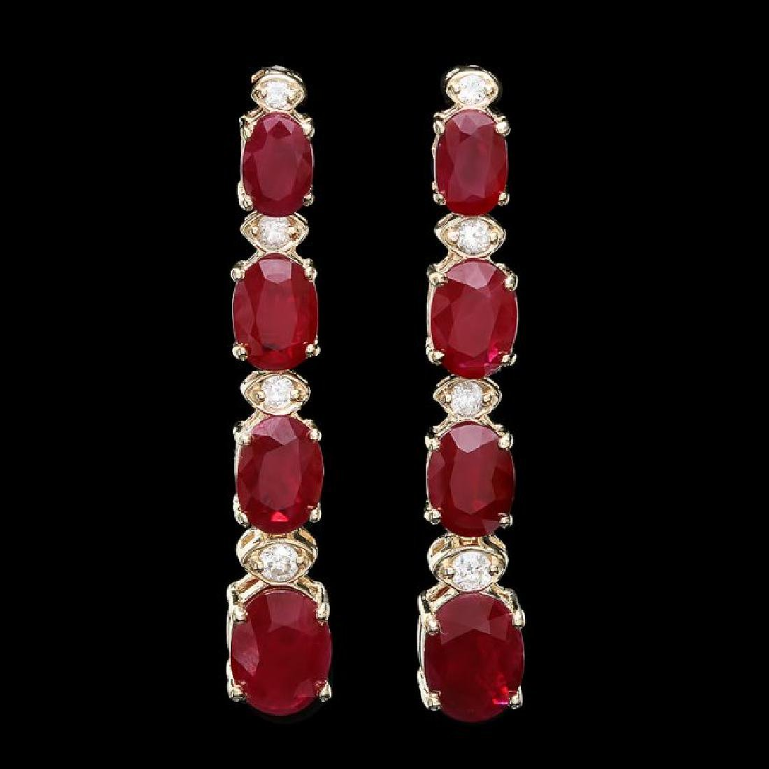 14k Gold 7.00ct Ruby 0.30ct Diamond Earrings