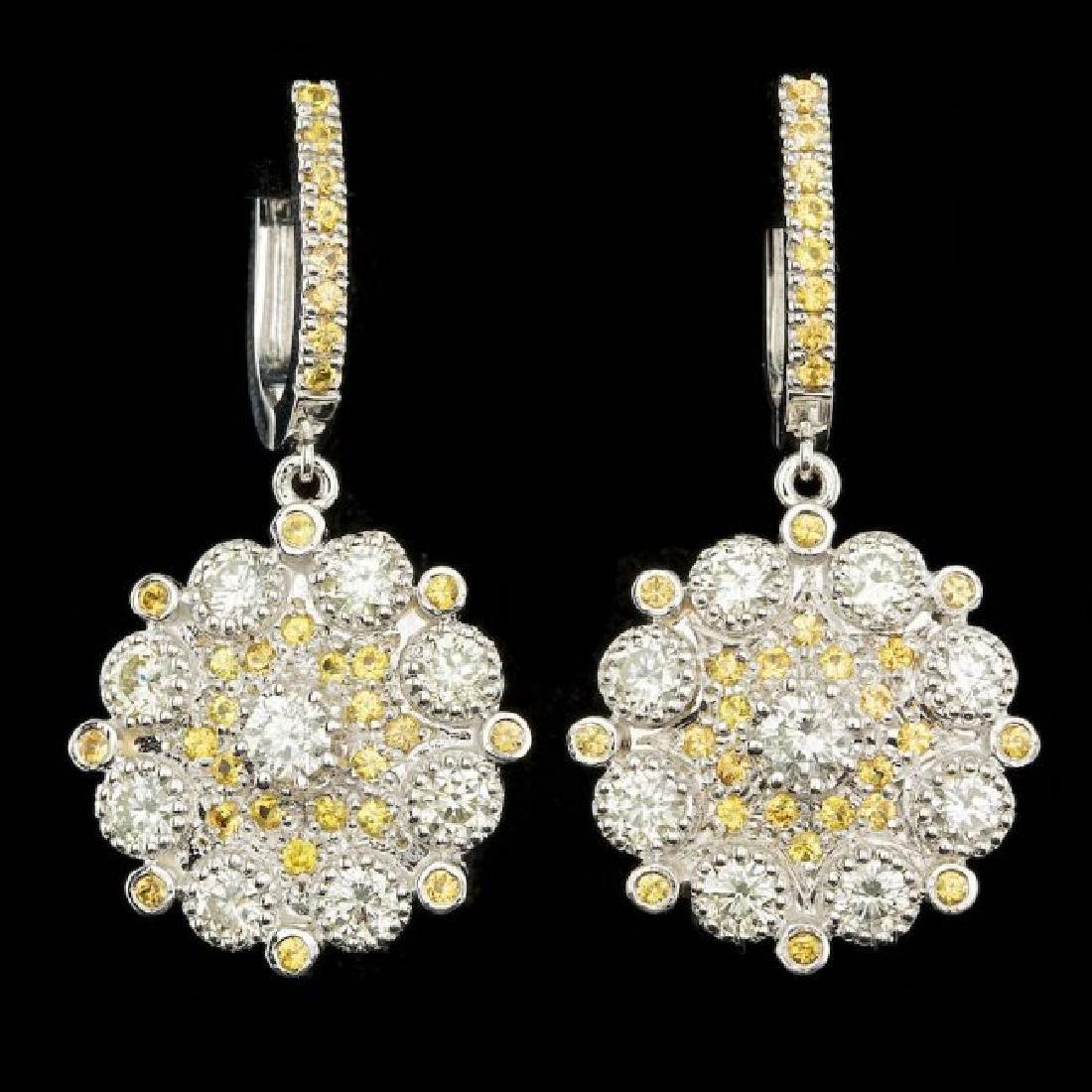 14k Gold 3.50ct Diamond 1.50ct Sapphire Earrings