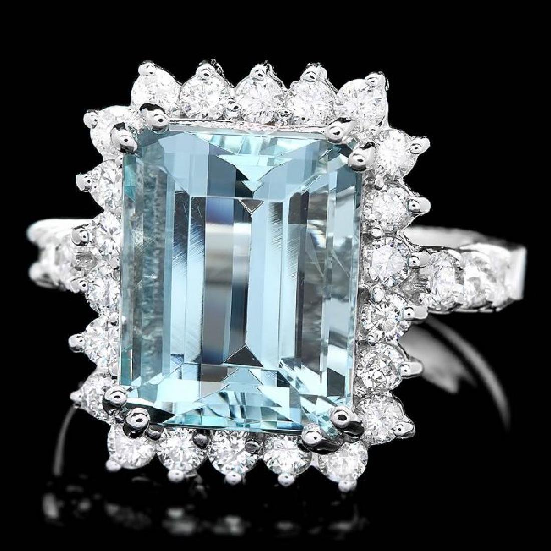 14k Gold 6.50ct Aquamarine 1.00ct Diamond Ring