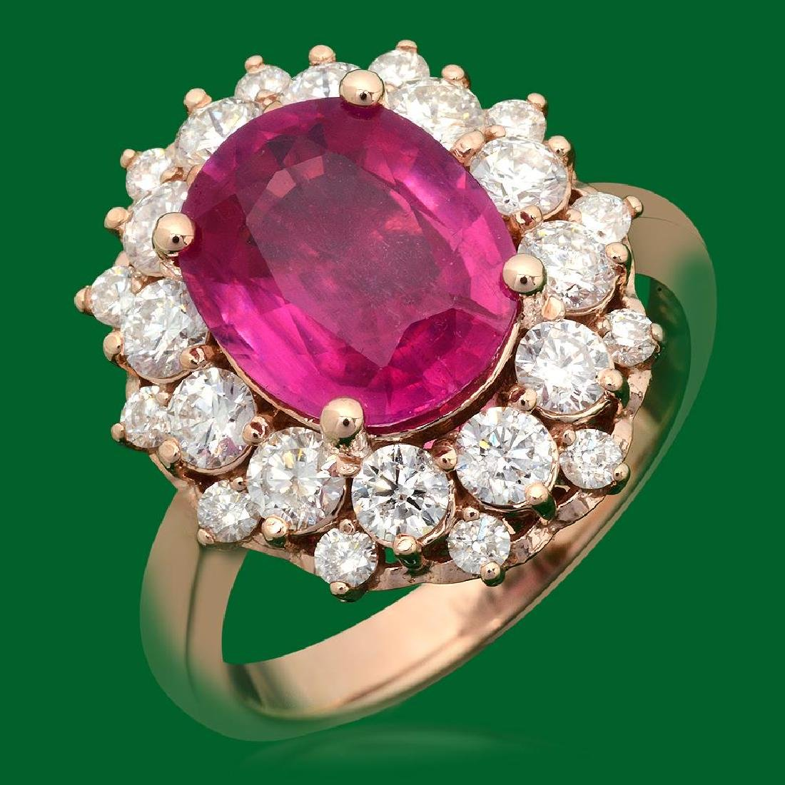 14k Gold 4.05ct Ruby 1.60ct Diamond Ring