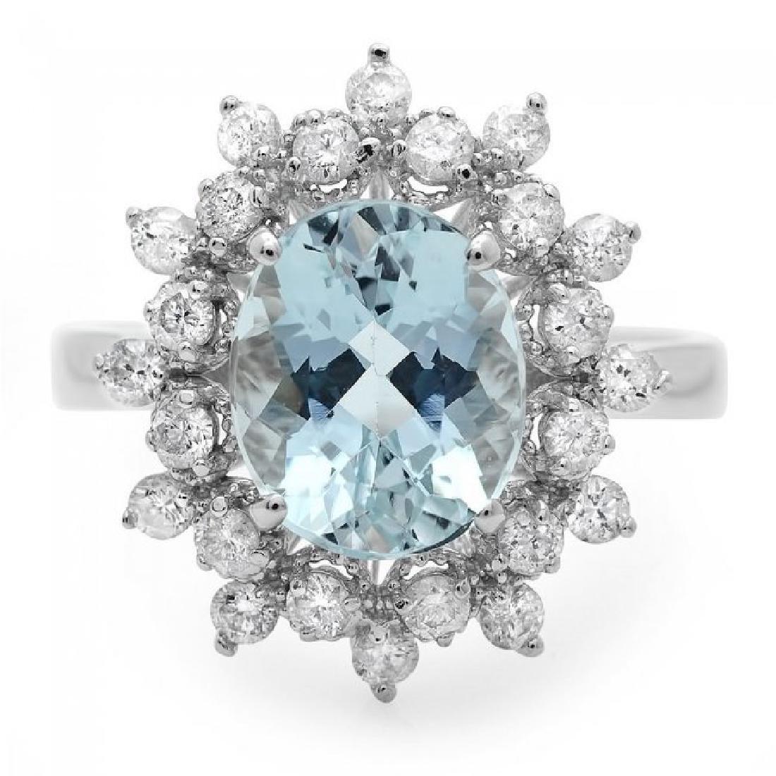 14k Gold 2.70ct Aquamarine 0.75ct Diamond Ring - 2