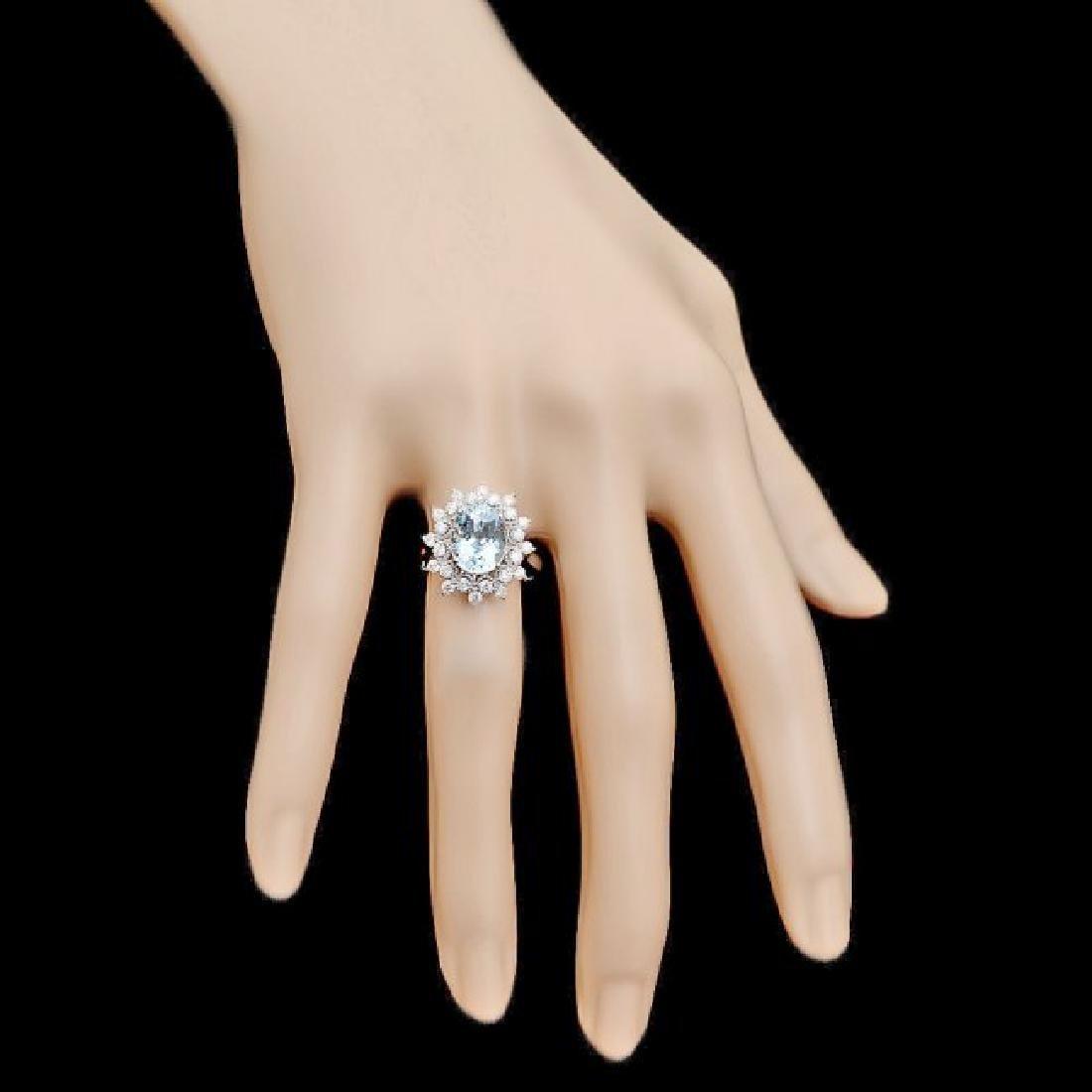 14k Gold 2.70ct Aquamarine 0.75ct Diamond Ring - 4