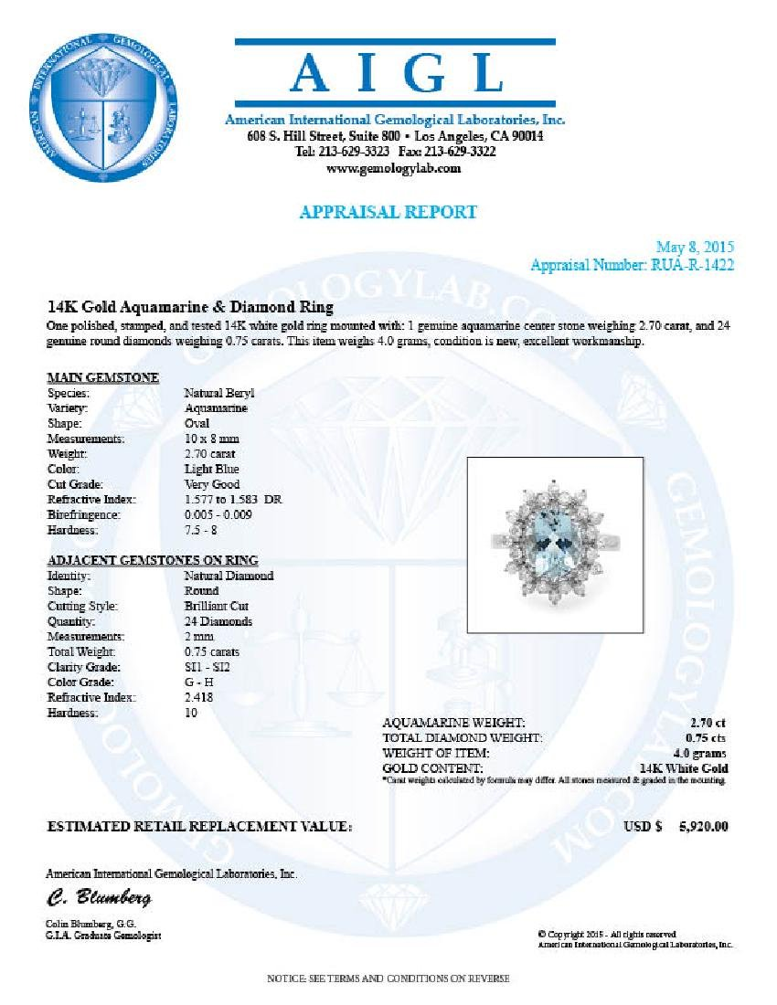 14k Gold 2.70ct Aquamarine 0.75ct Diamond Ring - 5