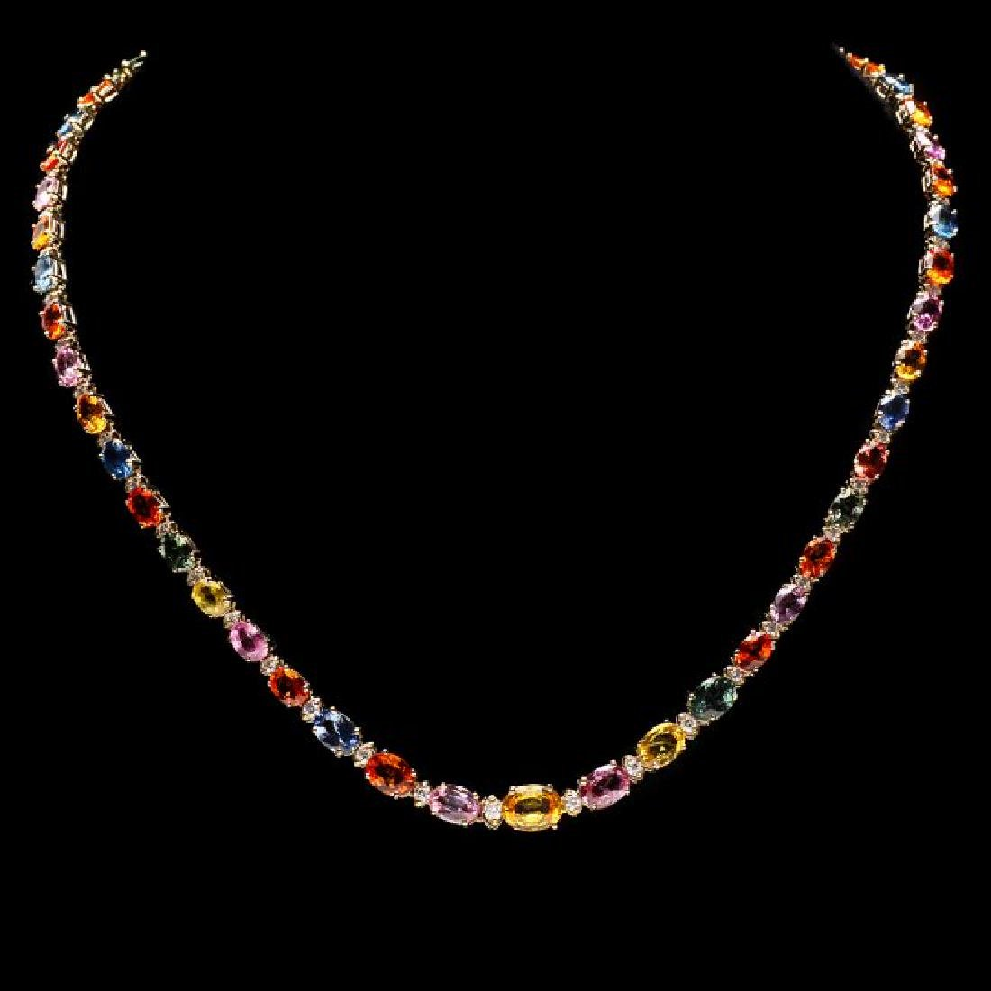 14k Gold 31ct Sapphire 1.4ct Diamond Necklace
