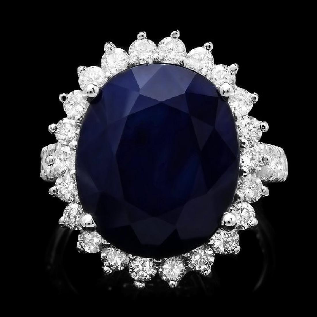 14k Gold 14.20ct Sapphire 1.59ct Diamond Ring