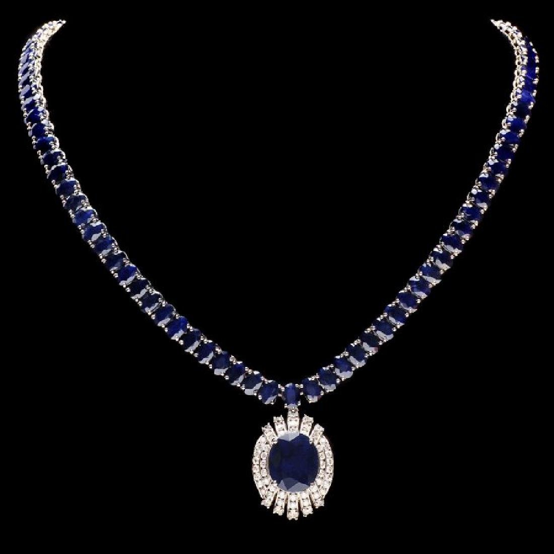 14k Gold 58ct Sapphire 1.80ct Diamond Necklace