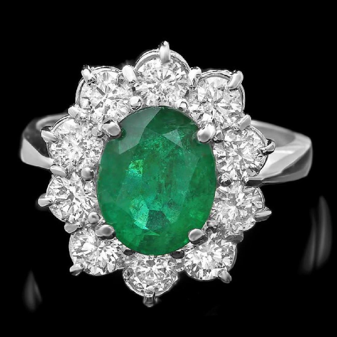 14k White Gold 2.30ct Emerald 1.70ct Diamond Ring