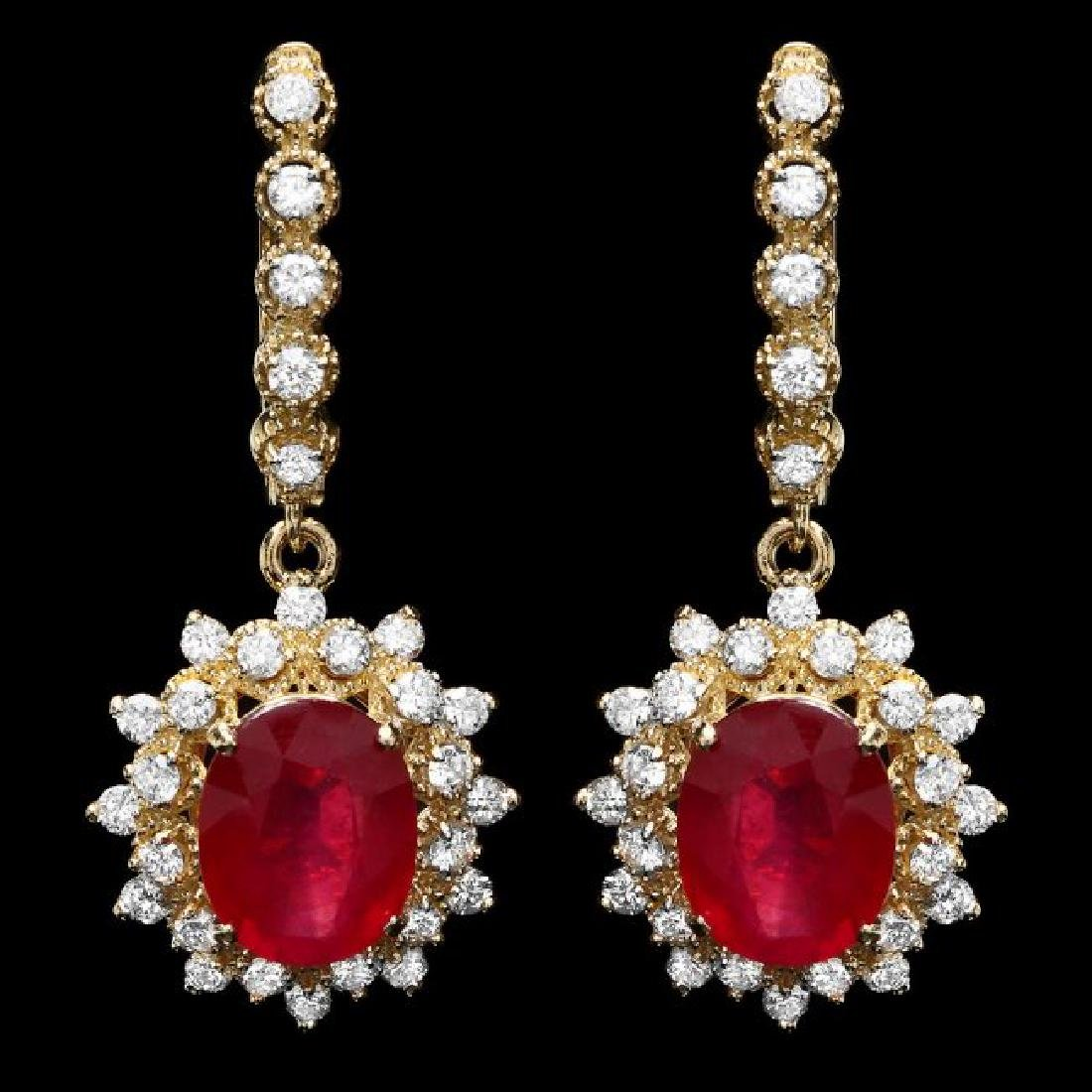 14k Gold 8.00ct Ruby 1.60ct Diamond Earrings